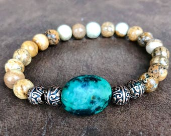 Picture jasper and turquoise gemstone stretch yoga bracelet