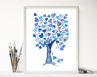 Blue  Hearts Tree, art Print  personalized art, Weddings, Valentine, Anniversary gift , hearts, mothers day, Birthday ,watercolor print,