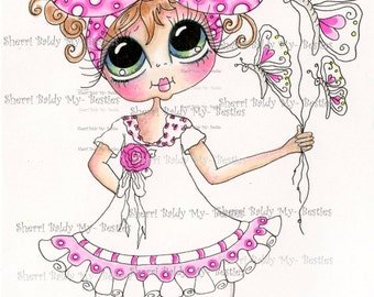 INSTANT DOWNLOAD Digital Digi Stamps Big Eye Big Head Dolls Digi IMG892 Butterfly Balloons  My Bestie By Sherri Baldy