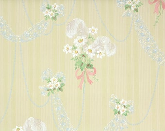 1940s Vintage Wallpaper by the Yard - White Daisies Pink Ribbon and Blue Lace on Yellow