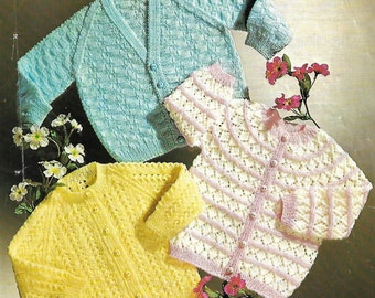 PDF knitting pattern, babies cardigan, boys, girls, lace knit, instant download, digital download