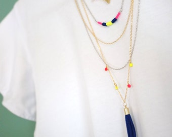 Multi Strand Necklace - Multi Layered Necklace - Tassel Necklace - Triangle Necklace - Neon Necklace - Woven Necklace - Pink Blue Yellow