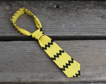 Yellow Chevron Charlie Brown Baby Boy Newborn Toddler NeckTie Photo Prop