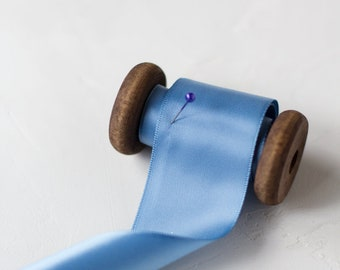 "Slate Blue Double-Faced Satin Ribbon (with Wooden Spool) - 5 yards - 1.5"" wide"