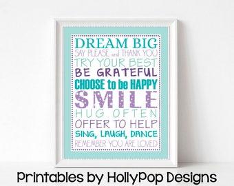 PRINTABLE Quotes for girls Girls room art Dream big Smile Purple aqua girl bedroom art Digital download art print Girl rules wall art #1584