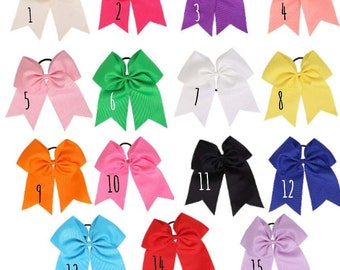 Cheer Bow, Basic Cheer Bows, Cheerleading Hair Bow, Solid Cheer Bow, HUGE Cheer Bows, 7 Inch Cheer Bows