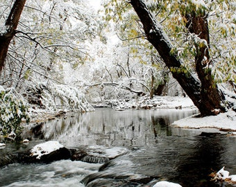 Winter Wonderland Photography,Winter photography, white snow,river, white, water, Holiday decor, Christmas, minimalist, home 12 by18
