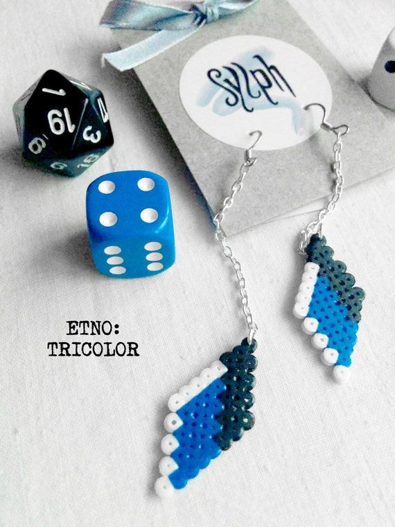 Pixelated etno dangle earrings in Estonian Tricolor flag colors made out of Hama Mini Perler Beads