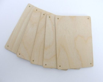 "Wooden rectangles 4 1/2"" x 3 1/4"" set of 5"