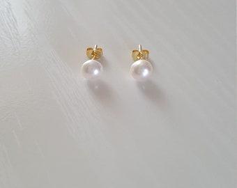 Akoya Pearl Earrings | Pearl Stud Earrings | 14K Pearl Earrings | Bridal Jewelry | Wedding Jewelry | Minimalist Dainty | June Birthstone