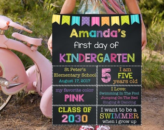 First Day of Kindergarten Sign, Back To School Sign, Printable Chalkboard Sign