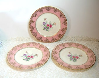 Pink Floral Plates, Set of Three, Soverein Potteries, Canada