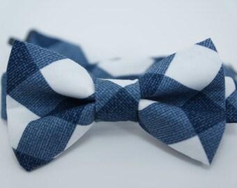 Bow Tie - Blue & White Plaid Bowtie