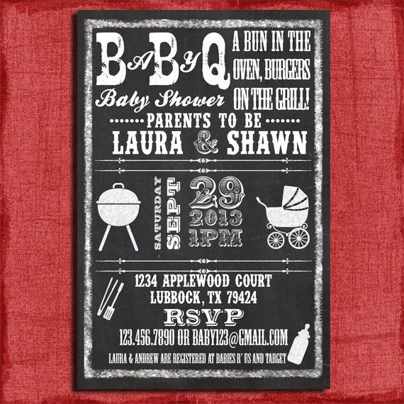 Printable Baby Q BBQ Baby Shower Chalkboard Style 4x6 or 5x7