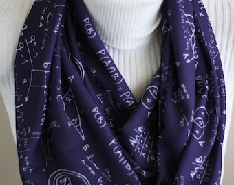 Mathematics Scarf Math Teacher Gift Geometry Graduation Party College Student Gift for Her Back to School Women Accessories