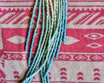 Light Blue + Teal Ombre Feather Dusters. Handwoven Seed Bead Dangle Fringe Earrings
