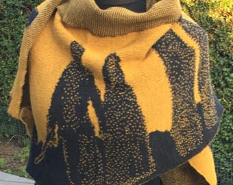 Amber/Black Outlander inspired, Standing Stones, Outlander Shawl with figures, knitted shawl
