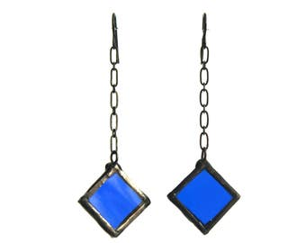 Dangle Earrings, Statement Earrings, Blue Glass Earrings, Gift for Her, Artistic Earrings, Birthday Gift, Girlfriend Gift, Long Earrings
