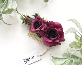 Burgundy Flower Comb- Burgundy Bridesmaid Hair Accessory- Flower Hair Comb- Boho Wedding Headpiece- Burgundy Wedding - Fall Wedding Comb
