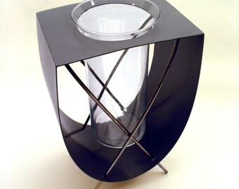 Loop Modern Steel Vase in Slate Blue
