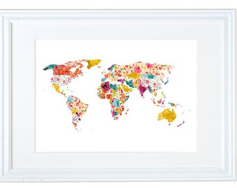 World Map Wall Art, Floral Wallpaper, Watercolor Painting, Meera Lee Patel