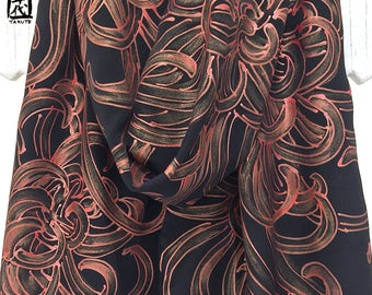 Silk Scarf Handpainted, One of a kind Art, Unique Gift, Black Silk Scarf, Red Gold Chrysanthemum Scarf, Silk Scarves Takuyo, 14x72 inches