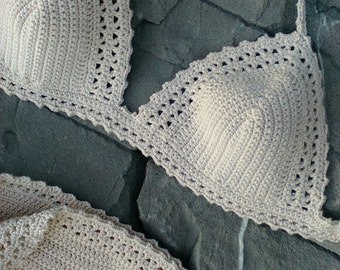 crochet bikini Pale cream bikini crochet swimwear Bikini Crochet swimsuit Boho bikini Hippie bikini Crochet beachwear String bikini