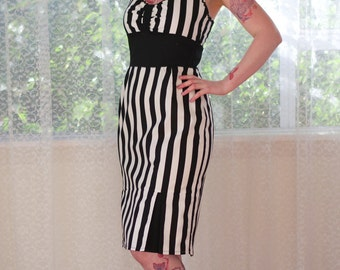 Rockabilly 'Nadia' Black and White Stripe Wiggle Dress with Gathered Front, Ric Rac Trim, Pencil Skirt and Front Pleats - Custom made to fit