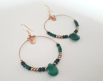 Earrings hoop earrings green Onyx and hematite gold plated