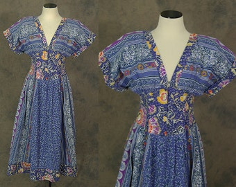 vintage 80s Dress - 1980s Boho Blue Patchwork Dress Batik Sun Dress Sz S