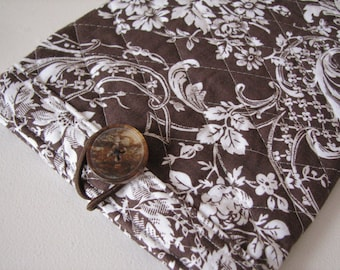 Quilted E reader sleeve Case, Brown Floral