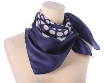 POLKA DOT Scarf 70s Navy Blue Off White Neck wear Shawl Polyester Mod Vintage Neck Scarf Retro Twiggy Kerchief Hipster Women Men Gift Idea