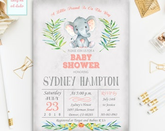 Elephant Baby Shower Invitation, Girl Baby Shower Invite, Jungle Safari Baby Shower Invitations, Digital File, Printable Invites
