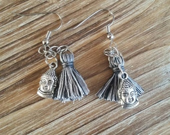 Silver Plated Buddha Tassel Earrings, Yoga Jewelry