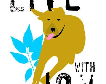 Yellow Labrador Art Print Wall Decor Small Poster Inspirational Series Running Dog