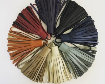 Neutral and Classic Color Leather Tassel Bag Charms