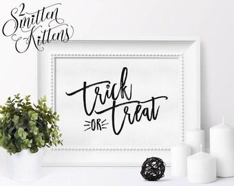 Trick or Treat Halloween Printable Art, Calligraphy Halloween Art Print, Trick or Treat Printable, Instant Download, Printable Art, BRUSH