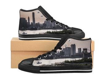 New York City WomenS HighTop Sneakers Canvas Sneakers Brooklyn Bridge WomenS Hightop Shoes Vintage Style HighTops