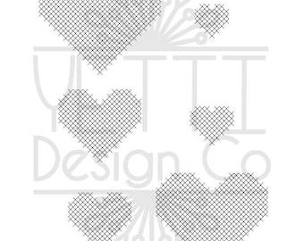 Cross Stitch Heart Set SVG