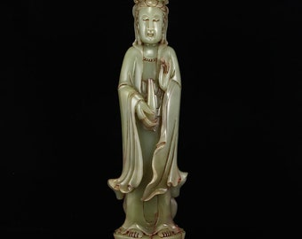N5037 Vintage Natural Chinese Hetian Jade Kwan-yin Statue