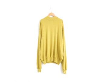 Mustard Yellow Sweater Mock Neck Top Aesthetic Plus Size Vintage Clothing Art Hoe Mock Turtleneck Top Oversized Sweater Womens XL 2XL XXL 1X