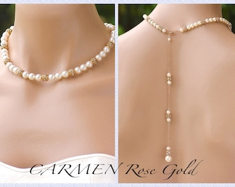 Rose Gold Pavè Back Drop Necklace, Ivory Pearl Bridal Backdrop Necklace, Bridesmaids Necklace, CARMEN