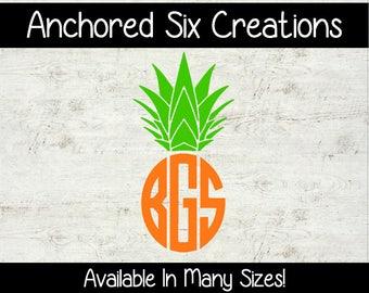 Pineapple Monogram - Single Word Decal - Custom Vinyl Decal - Window Decal - Vinyl Decal - Vehicle Decal