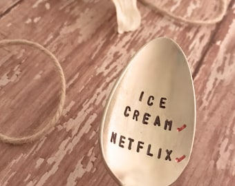 Stamped spoons, chillin spoon, stamped spoons, upcycled silverware stamped, stamped sayings spoons, ice cream spoon,
