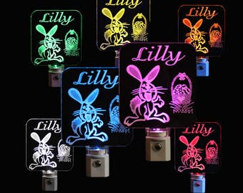 Easter Bunny Personalized LED Night Light - Kids Lamp, Easter
