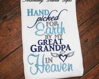 Hand Picked for Earth By My Great Grandpa in Heaven, Embroidered Shirt, Angel Wings, Guardian Angel Shirt, Miracle Baby, Baby Announcement