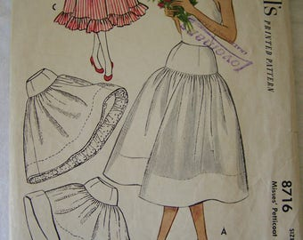 McCall's Vintage Sewing Pattern 8716 from 1951 Women's Petticoat Size 24