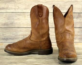 Georgia Cowboy Work Boots Distressed Brown Leather Mens Size 8 D Farm Ranch Vintage