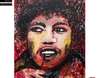 """Sale! Bob Marley Pop Art Portrait - (90x70cm) 35.4""""x27.6"""" FREE WORLDWIDE SHIPPING painting ready to hang, hand painting by Carlos Pun"""