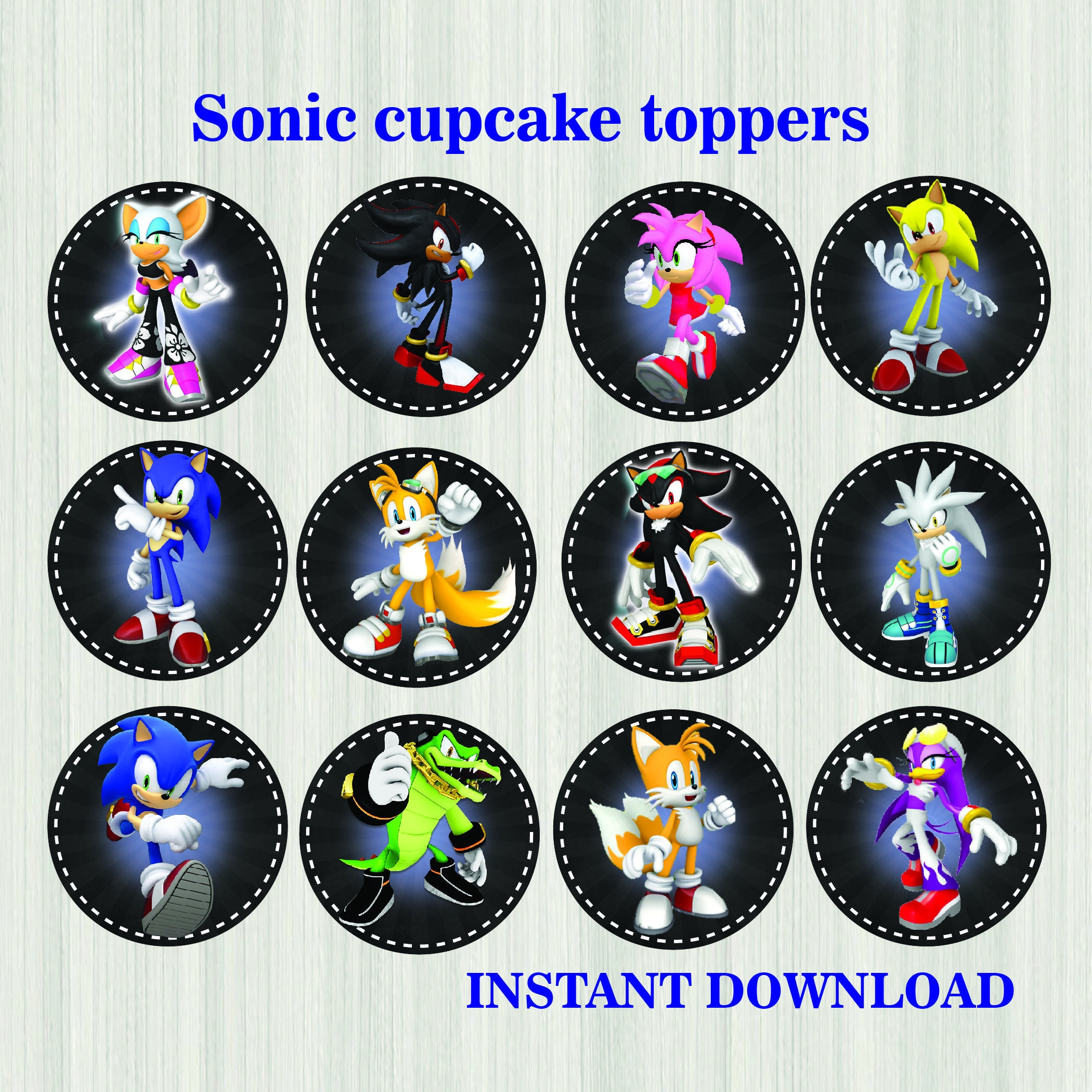 Sonic Topper Instant download Sonic Party Sonic Cake Sonic